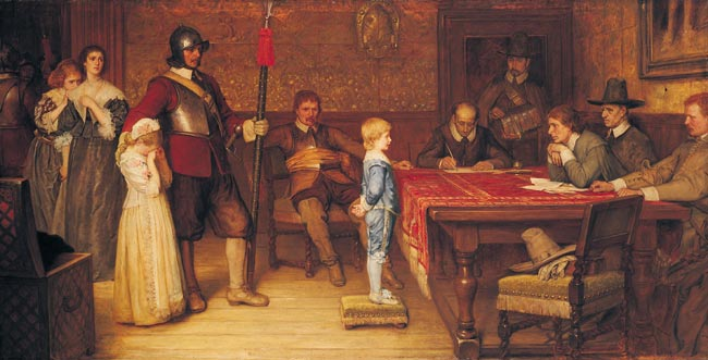 And When Did You Last See Your Father? di  William Frederick Yeames (1878). Il dipinto mostra un giovane (in una casa leale al Re) interrogato da un miliziante della fazione Parlamentare durante la guerra civile inglese