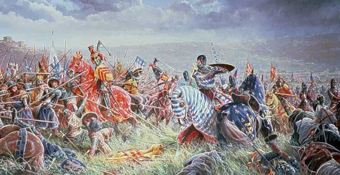 a-painting-depicting-the-battle-of-bannockburn