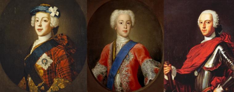 Tre ritratti del Bonnie Prince Charlie; da sx: ritratto eseguito da William Mosman nel 1750 circa, nel quale Charles indossa la rosa bianca simbolo dei giacobiti. ritratto eseguito da Antonio David nel 1732; Prince Charles Edward Stuart in Armour di Jean-Marc Nattier,