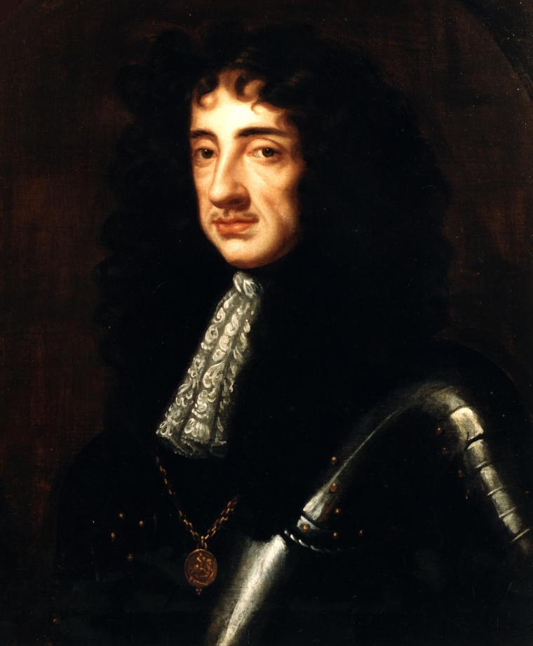 Carlo II in armatura; ritratto di sir Peter Lely, primo pittore di corte.