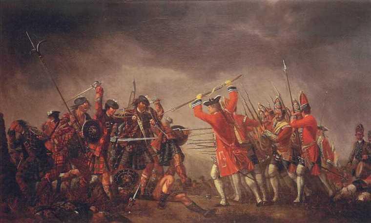 Dipinto a olio di  David Morier che ritrae la battaglia di Culloden