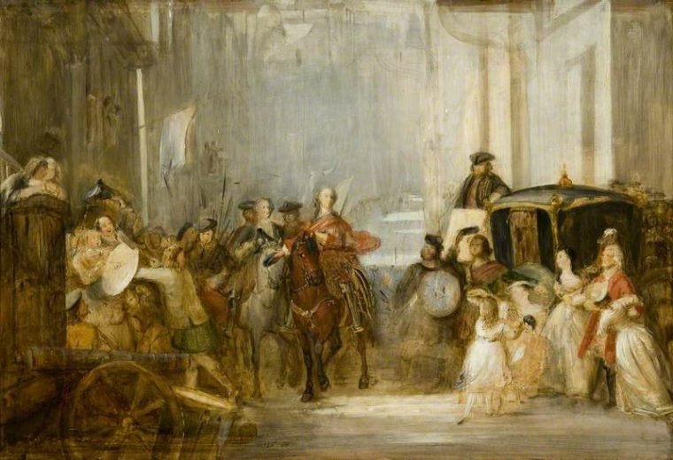 The Entrance of Prince Charles Edward Stuart to Edinburgh after Prestonpans - l'entrata di Charles Edward Stuart ad Edimburgo dopo la battaglia di Prestonpans, by Thomas Duncan (1838)