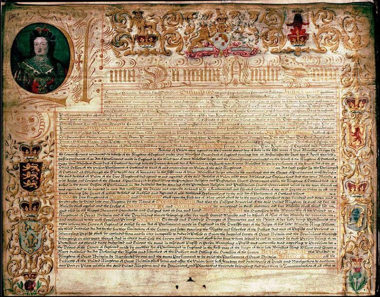 Il trattato d'Unione, 1707, sanciva la nascita del regno di Gran Bretagna.