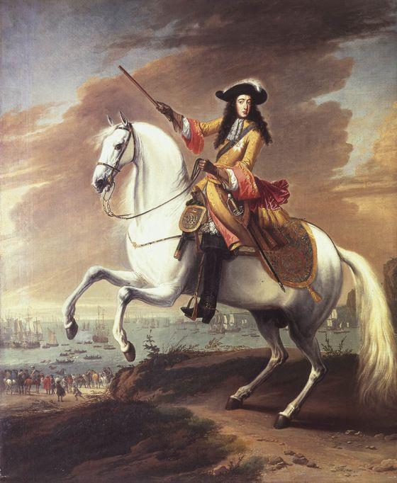 Guglielmo d'Orange ritratto durante lo sbarco a Brixham, Torbay nel 1688. Dipinto di  Jan Wyck,