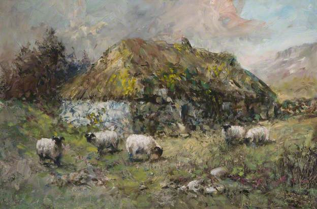 After the Highland Clearances, dipinto di David Stratton Watt che ritrae un cottage abbandonato e delle pecore che pascolano.
