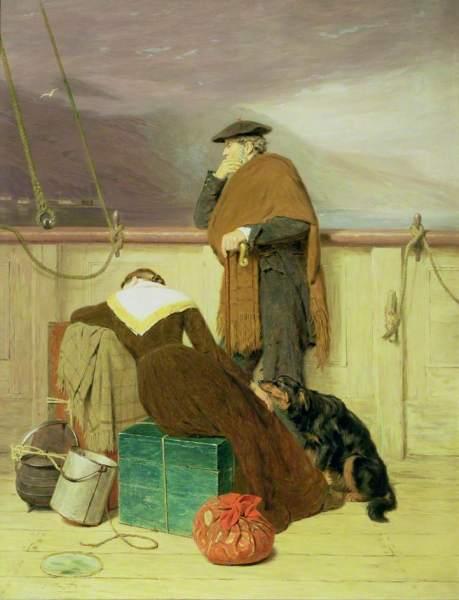Highland Clearances, dipinto di John Watson Nicol, 1883 che ritrae una coppia di scozzesi emigranti.