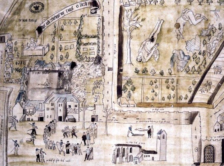 Disegno del luogo del delitto di Kirk o'field, realizzato per William Cecil poco dopo l'omicidio. In alto a desta di vede il corpo di Darnley nel giardino della casa esplosa.