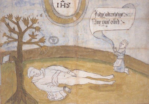 Manifesto realizzato a seguito dell'omicidio di Darnley, che ritrae il figlio James-Giacomo accanto al cadavere del padre che prega :Judge and avenge my cause, O Lord!':