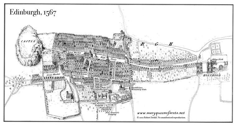 Disegno realizzato da David Atkinson che ricostruisce la città di Edimburgo com'era all'epoca dell'assassinio di Lord Darnley nel 1567