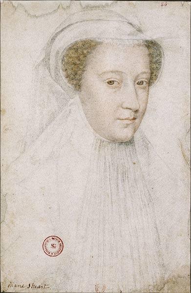Ritratto di Mary Stuart, vedova a 18 anni - schizzo di François Clouet