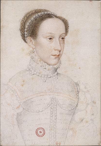 Mary Stuart, delfina di Francia a 16 anni - schizzo di François Clouet