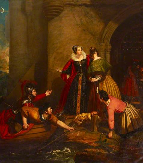 Mary, Queen of Scots , Leaving Loch Leven on 2 May 1568 - dipinto di  Edward Daniel Leahy 1837