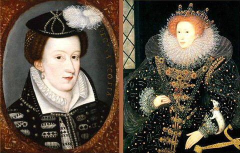 Mary Stuard (a sinistra) e la cugina e rivale Elzabeth d'Inghilterra (a destra)