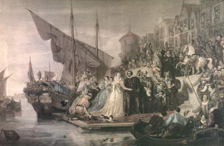 Mary's landing in Leith in August 1561 - by Sir William Allan