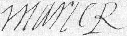 la firma di Mary Stuart: MaryR, ossia Mary Regina