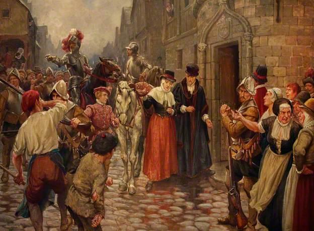 Brought Captive to Edinburgh from Carberry Hill - William Brassey Hole 1910 (Mary Stuart è portata ad Edimburgo dopo la sconfitta di Carberry Hill).  In un messaggio fatto recapitare a Londra recante un disegno della disposizione degli eserciti a Carberry Hill, si legge che gli abiti della regina non erano certo eleganti come al solito. Abbandonato in fretta il castello di Bortwhick vestita da uomo, a Mary non era rimasto che accontentarsi di indossare un abito prestatole da una cameriera al castello di Dumbar: una sottoveste rossa che non arrivava nemmeno al ginocchio, una blusa blu ed un berretto di velluto.
