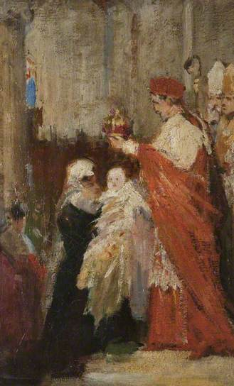 Ll'incoronazione di Mary Stuart al castello di Stirling - The Crowning of Mary, Queen of Scots  by William Ewart Lockart