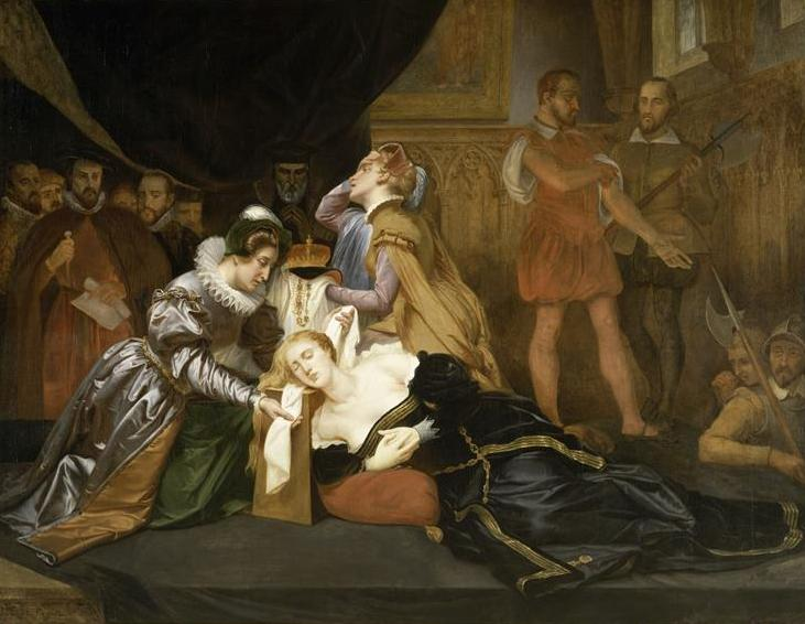 La dama di compagnia Jane Kennedy benda la regina Mary Stuart - dipinto di Abel de Pujol