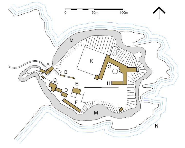 Ecco la mappa di Dunnottar castle:  A) Accesso e Benholm's Lodging B) Tunnels C) Tower House D) Forge E) Waterton's Lodging G) Stalle H) Palazzo I) Cappella J) Whigs' Vault K) Campo da bocce L) Vedetta M) Scogliera N) Mare del Nord  (immagine di Jonathan Oldenbuck )