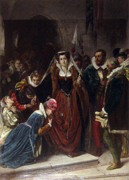 Maria Stuarda si avvia al patibolo - dipinto di Scipione Vnnutelli, 1861