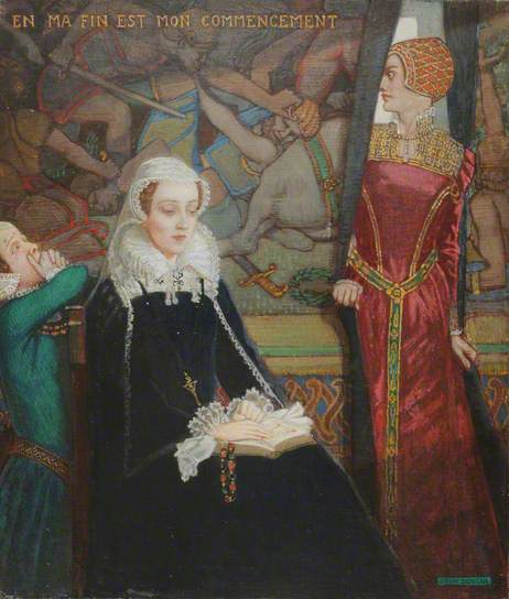 Mary queen of scots at Fotheringhay - dipinto di John Duncan, 1929