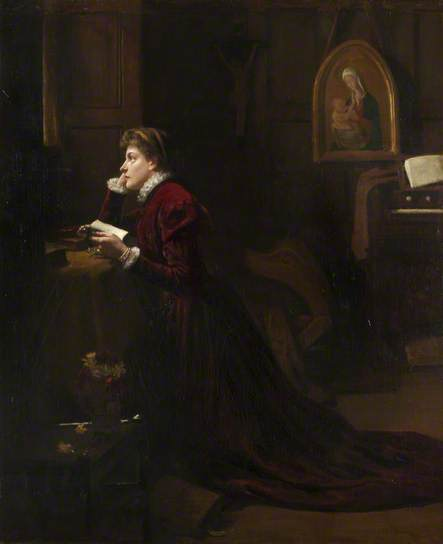 Mary queen of Scots at prayer - dipinto di Patrick William Adam