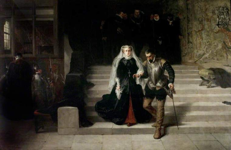 Mary, Queen of Scots, being led to her execution - dipinto di Laslett John Pott, 1871