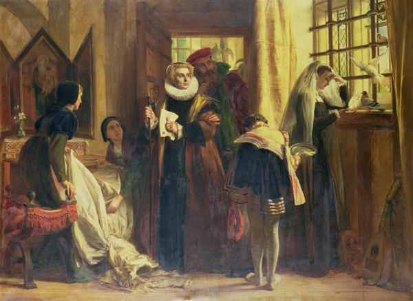 Mary queen of scots in captivity - dipinto di John Callcott Horsley, 1871
