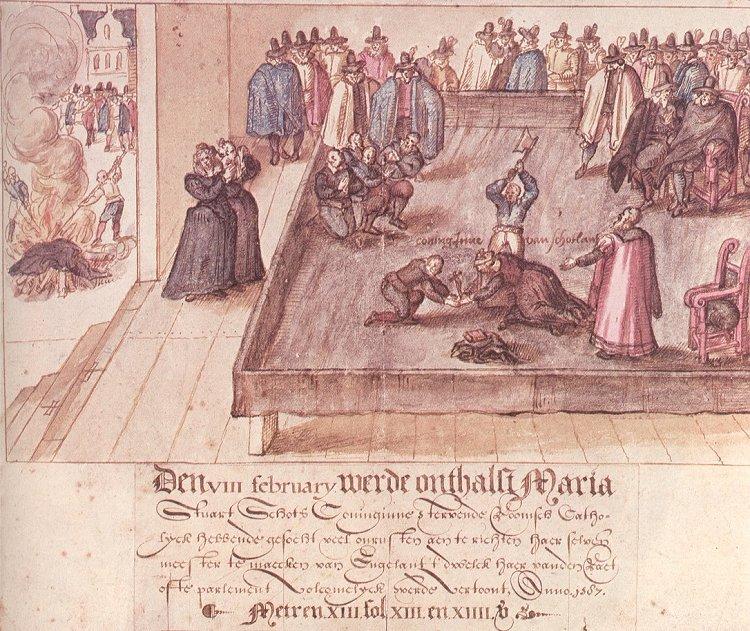 Xilografia che illustra l'esecuzione di Mary Stuart con descrizione in olandese. Sulla sinistra si vedono i suoi averi che vengono bruciati.