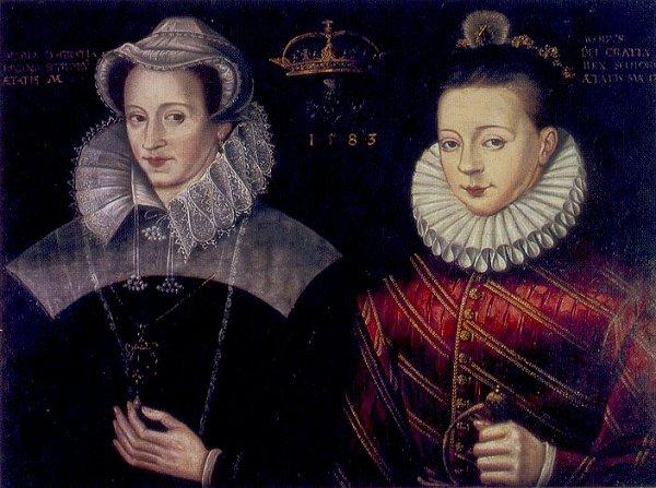 Mary queen of scots and King James VI of Scotland - dipinto del 1583. Mary è ritratta durante la sua prigionia in Inghilterra infatti vestiti e perfino gioielli sono uguarli a quelli di altri quadri realizzati durante quel periodo.