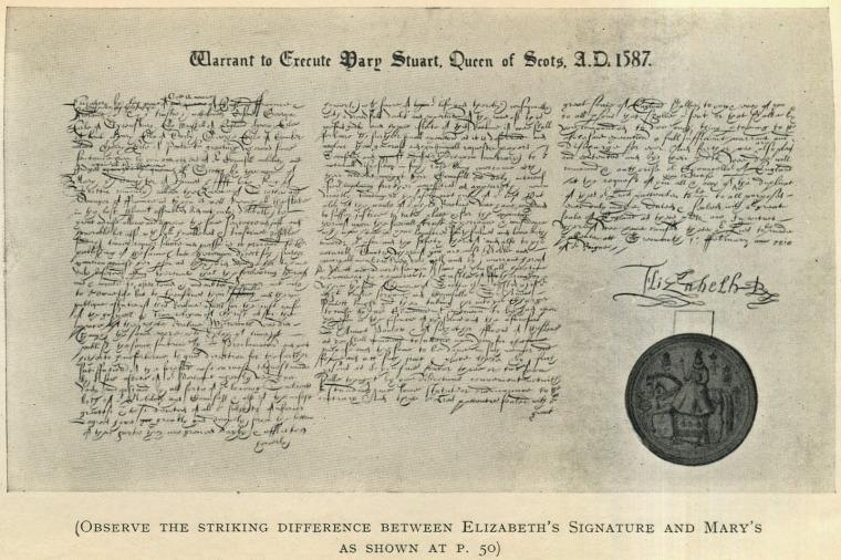 Sentenza di condanna a morte per Mary Stuart firmata da Elisabetta I