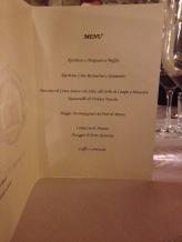 Il menu della serata