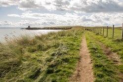 Il Coastal Path che va verso Elie, con la Lady's Tower in fondo